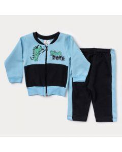 Conjunto de Moletom Bebê Menino Jaqueta Bomber Azul com Zíper e Calça Preta