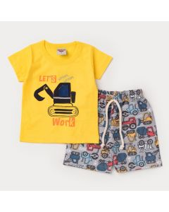 Conjunto de Verão Bebê Menino Blusa Amarela Trator e Short Cinza Estampado