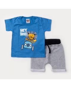 Conjunto Curto Bebê Menino Blusa Azul Leãozinho e Bermuda Cinza