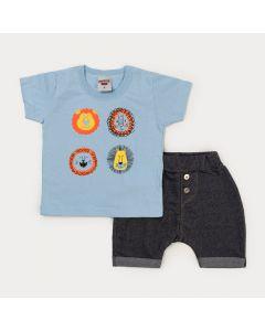 Conjunto de Verão Bebê Menino Blusa Azul Leão e Bermuda Preta