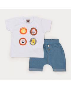 Conjunto de Verão Bebê Menino Blusa Branca Leão e Bermuda Azul