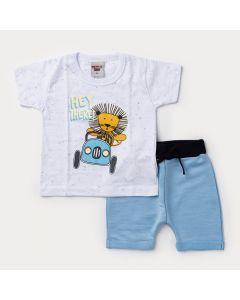 Conjunto Curto Bebê Menino Blusa Branca Leãozinho e Bermuda Azul