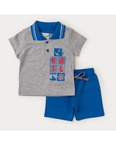Conjunto Verão Bebê Menino Camiseta Gola Polo Cinza Estampada e Bermuda Azul