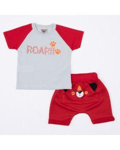 Conjunto Curto para Bebê Menino Blusa Cinza Estampada e Short Vermelho Bichinho