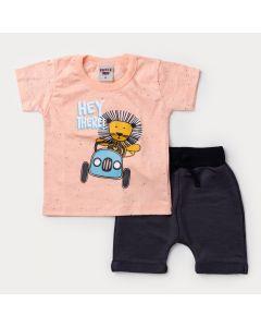 Conjunto Curto Bebê Menino Blusa Salmão Leãozinho e Bermuda Chumbo