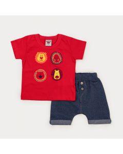 Conjunto de Verão Bebê Menino Blusa Vermelha Leão e Bermuda Marinho