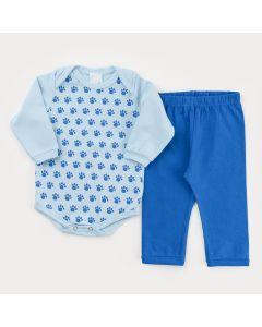 Conjunto com Body Manga Longa Azul Patinhas e Calça Azul para Bebê Menino
