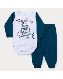 Conjunto Inverno Bebê Menino Calça Verde Escuro e Body Branco Manga Longa Avião