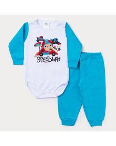 Conjunto Inverno Bebê Menino Calça Azul e Body Branco Manga Longa Carro