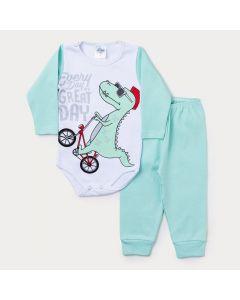 Conjunto Inverno Bebê Menino Calça Verde e Body Branco Manga Longa Dinossauro