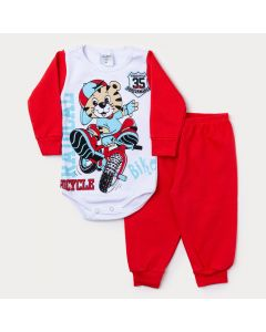 Conjunto Inverno Bebê Menino Body Branco Manga Longa Tigre e Calça Vermelha