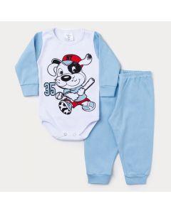 Conjunto Inverno Bebê Menino Body Manga Longa Branco Cachorro e Calça Azul Claro