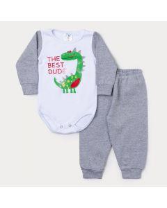 Conjunto Bebê Menino Body Branco Manga Longa Dinossauro e Calça Cinza