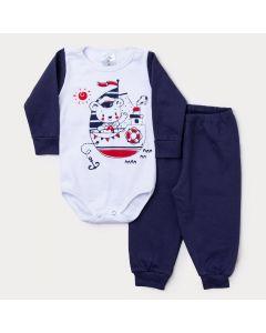 Conjunto Inverno Bebê Menino Body Branco Manga Longa Navio e Calça Marinho