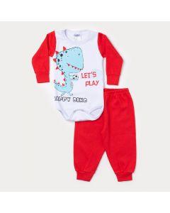 Conjunto Inverno Bebê Menino Calça Vermelha Body Branco Manga Longa Dinossauro