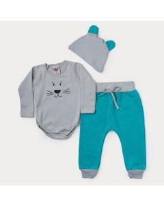 Conjunto de Frio Bebê Menino Body com Touca Cinza Ursinho e Calça Verde