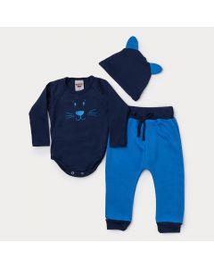 Conjunto de Frio Bebê Menino Body com Touca Marinho Ursinho e Calça Azul