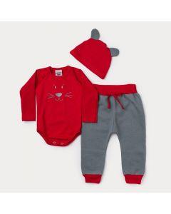 Conjunto de Frio Bebê Menino Body com Touca Vermelho Ursinho e Calça Cinza