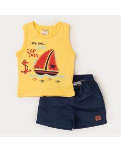 Conjunto Regata Amarela Barco e Bermuda Preta Bebê Menino