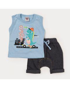 Conjunto Verão Bebê Menino Regata Azul Dino Bermuda Preta