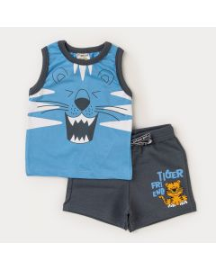 Conjunto Regata Azul Tigre e Bermuda Cinza Bebê Menino