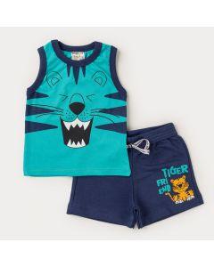 Conjunto Regata Verde Tigre e Bermuda Marinho Bebê Menino