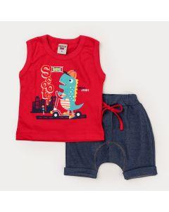 Conjunto Verão Bebê Menino Regata Vermelha Dino Bermuda Marinho