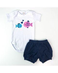Conjunto de Verão Bebê Unissex Body Branco Peixinhos e Short Marinho