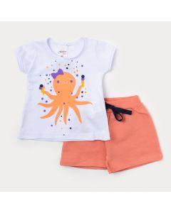 Conjunto de Bebê Feminino Short Salmão e Blusa Branca com Estampa de Polvo