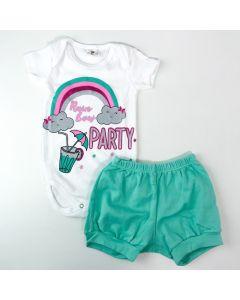 Conjunto Curto Bebê Menina Body Branco Arco-Íris e Short Verde Água