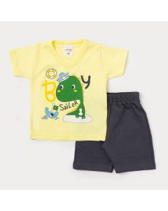 Conjunto Bebê Masculino com Camiseta Amarela Dinossauro e Bermuda Cinza