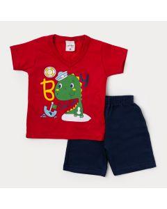 Conjunto Bebê Masculino com Camiseta Vermelha  Dinossauro e Bermuda Azul Marinho