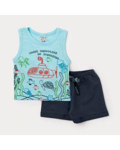 Conjunto para Bebê Menino Regata Azul Com Estampa de Submarino e Bermuda Cinza