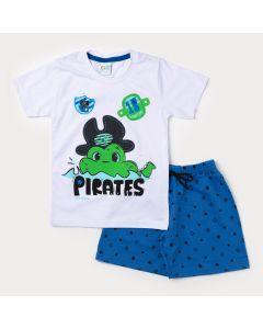 Conjunto Bermuda Infantil Azul Estampada e Camiseta Masculina Branca Pirata