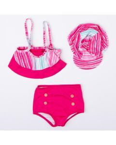 Conjunto de Biquíni para Menina Top Listrado Calcinha Rosa e Chapéu com Proteção UV