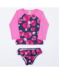 Conjunto Blusa Rosa com Proteção UV 50+ Floral e Calcinha de Biquíni