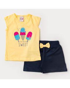 Conjunto de Verão Menina Blusa Amarela Sorvete e Short Marinho com Laço