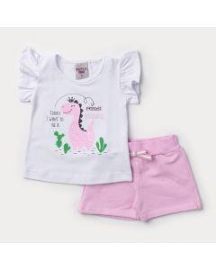 Conjunto Verão Bebê Menina Blusa Branca Dinossauro e Short Rosa