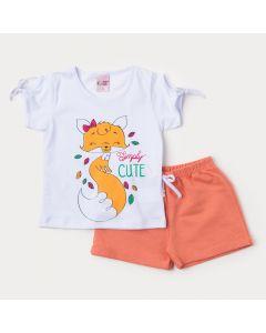 Roupa de Verão para Menina Blusa Branca Raposa e Short Laranja em Moletinho