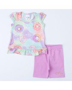 Conjunto de Verão Bebê Menina Blusa Donut Short Ciclista Lilás