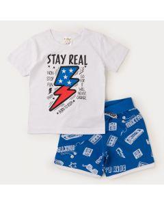 Conjunto Curto para Menino Blusa Branca Estampada e Bermuda Azul