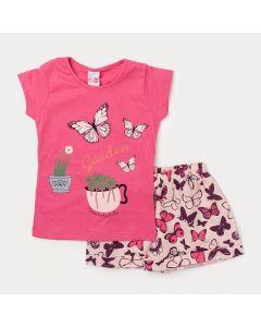 Conjunto Infantil de Verão para Meninas Short Borboleta e Blusa Rosa