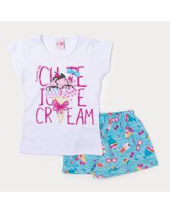 Conjunto Infantil Feminino Blusa Branca Algodão e Short Azul Estampado