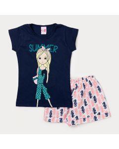 Conjunto de Roupa para Menina Short Branco Estampado e Blusa Azul Marinho