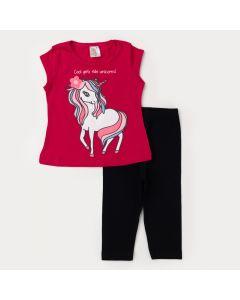 Conjunto de Verão Infantil Feminino Blusa Pink Unicórnio e Legging Preta