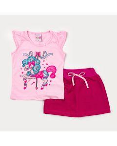 Conjunto Curto para Menina Blusa Rosa Pônei e Short Saia Pink