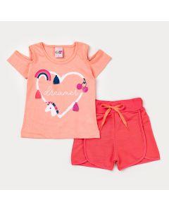 Conjunto de Verão para Menina Blusa Salmão Coração e Short Coral