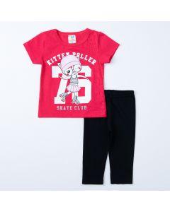 Conjunto Curto para Menina Blusa Rosa Gatinho e Legging Preta