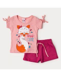 Roupa de Verão para Menina Blusa Rosa Raposa e Short Pink em Moletinho