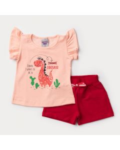 Conjunto Verão Bebê Menina Blusa Salmão Dinossauro e Short Vermelho